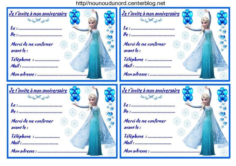 Etiquettes invitations Reine des neiges pour anniversaire | Invitation reine des neiges ...