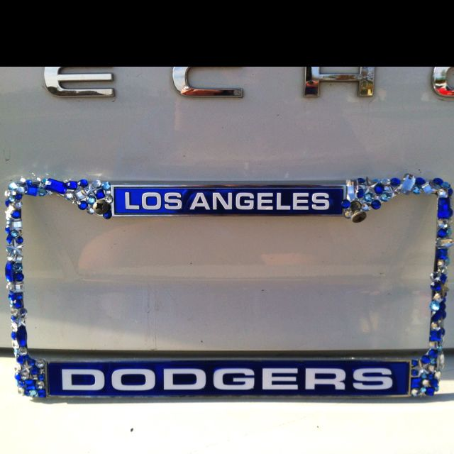 custom bejeweled dodger license plate frame