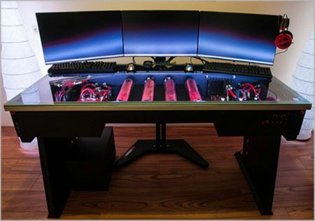 I Like The Idea Of An Ultimate Pc Gaming Desk Where Has A Glass Top With All Parts Inside Visible Liquid Cooled Led Lighting