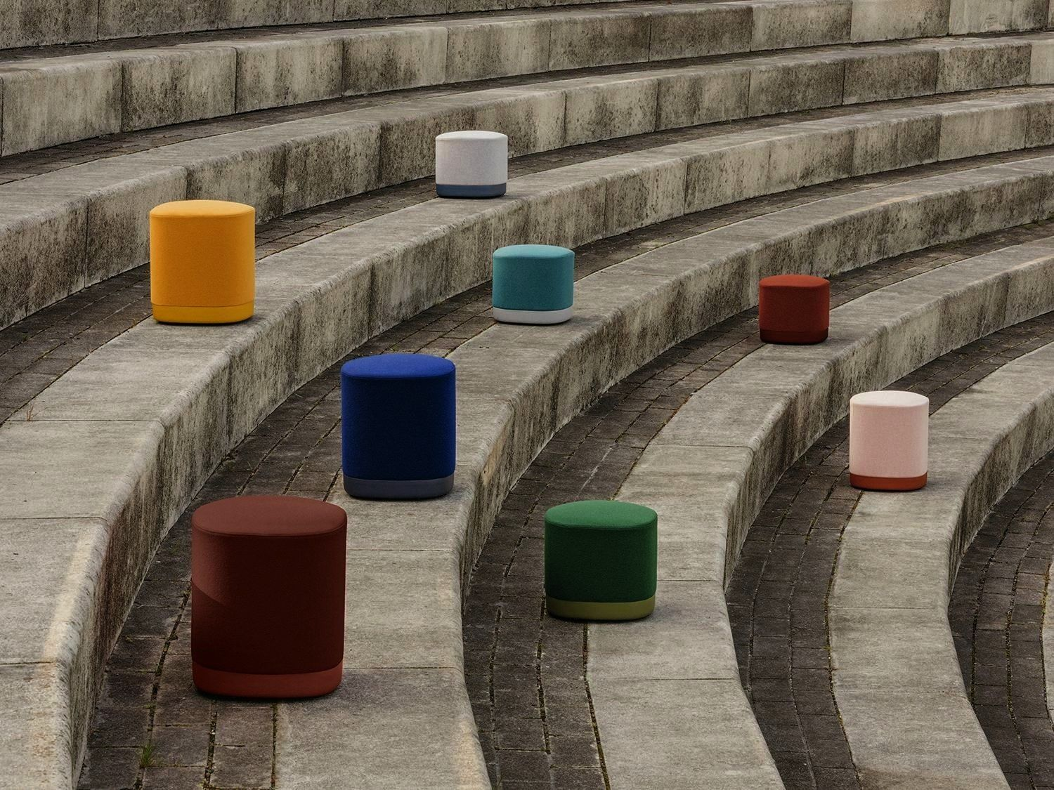 pouf has an aluminium base polished or lacquered in any of our colours and with or without castors The seat can be upholstered in one or two fabrics and that is the reaso...