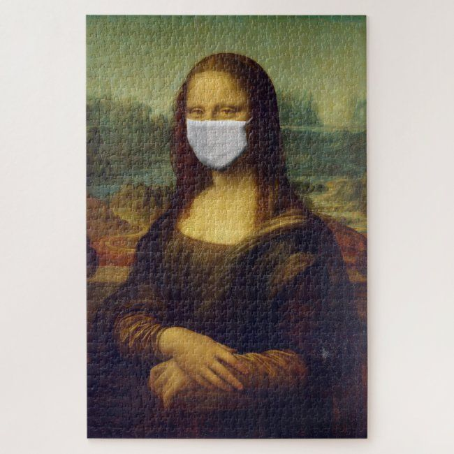 Monalisa With Mask Very Difficult 1014 Pieces Jigsaw Puzzle Zazzle Com Mona Lisa Jigsaw Puzzles Art Funny Animal Photos