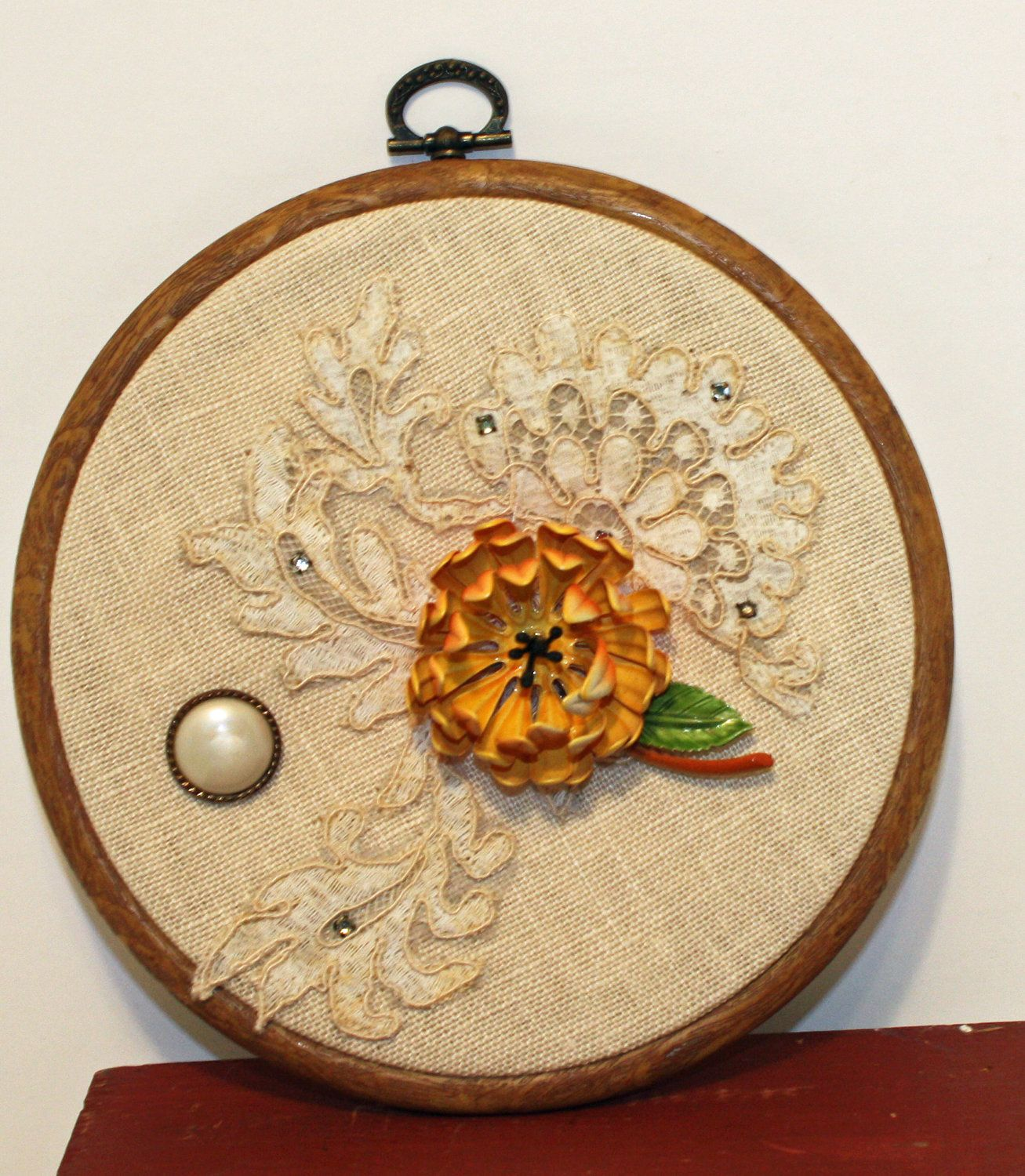 Upcycled Vintage Pin, Buttons and Lace Wall Hanging in Embroidery ...