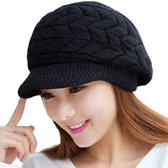 467d777b349d6 Loritta Womens Winter Warm Knitted Hats Slouchy Wool Beanie Hat Cap with  Visor at Amazon Women s Clothing store  womenhats  woemenhatsforwinter   fashionhats ...