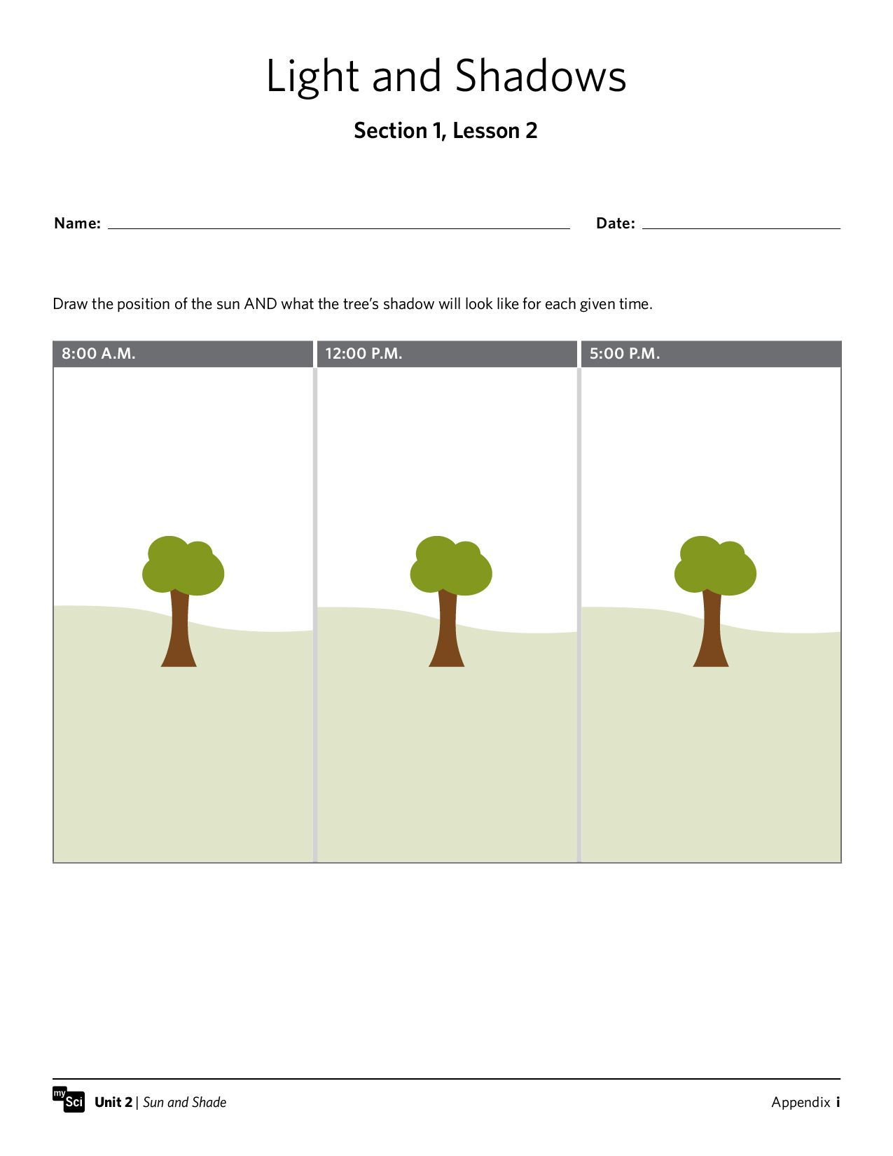 Mysci Unit 02 Sun And Shade Preview Institute For School Partnership Shadow Lessons Teaching Stem Printable Worksheets [ 1650 x 1275 Pixel ]