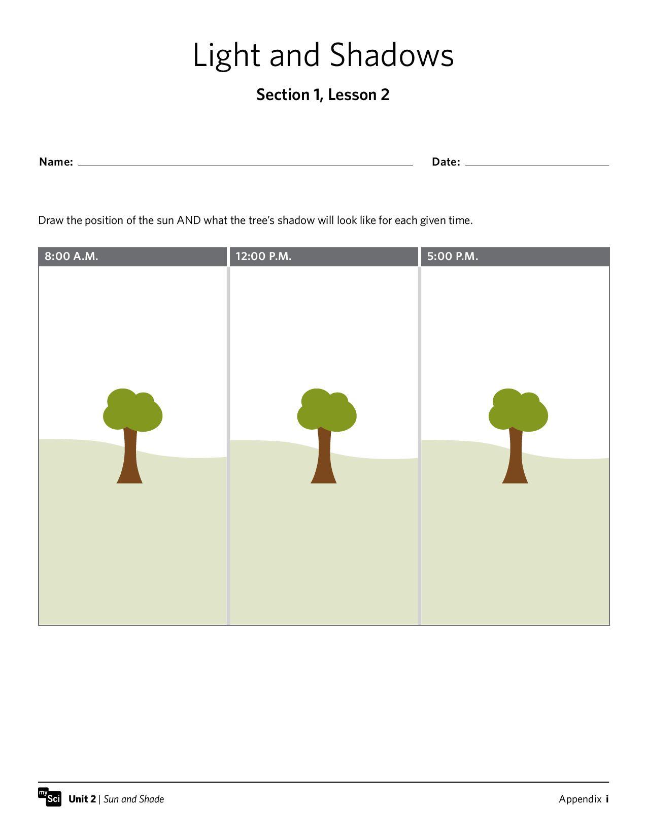 Mysci Unit 02 Sun And Shade Preview Teaching Stem Pinterest