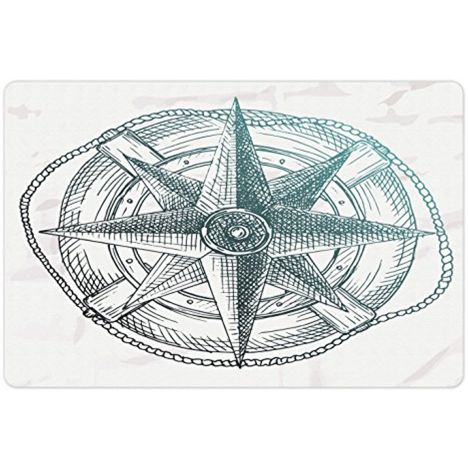 Nautical Pet Mats For Food And Water By Lunarable, Compass