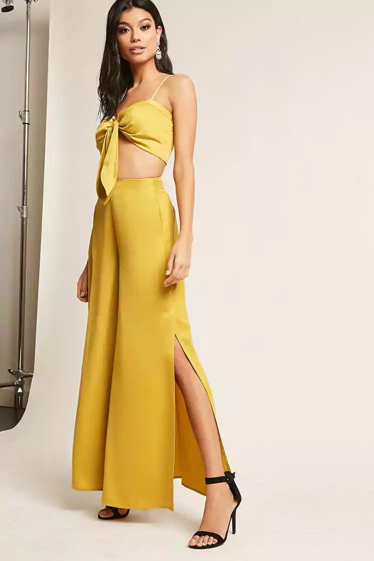 70d92502fe Product Name:Satin Crop Top & Vented Pants Set, Category:CLEARANCE_ZERO,  Price:58