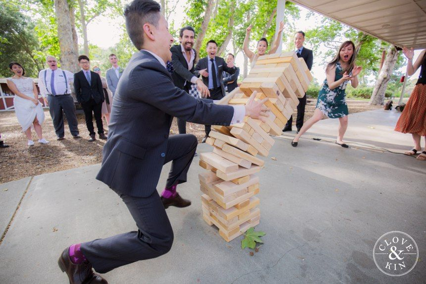 Life-Size Jenga - Reception Games.   Bommer Canyon Wedding, Photography by Clove and Kin
