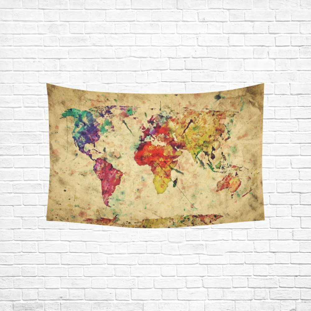 Home Decor Wall Art Retro Watercolor World Map Wall Tapestry Wall ...