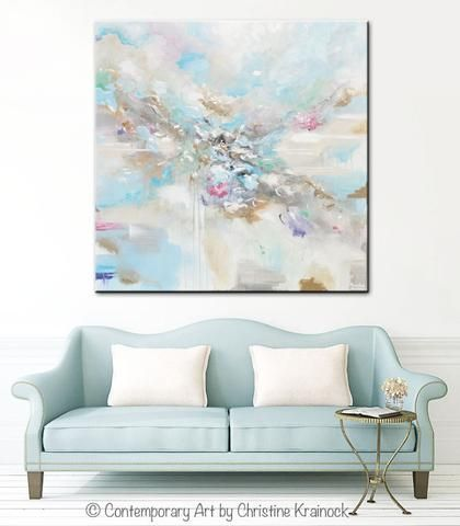 ORIGINAL Art Abstract Light Blue White Painting LARGE 48x48 Canvas Coastal Grey Beige Aqua Wall Decor