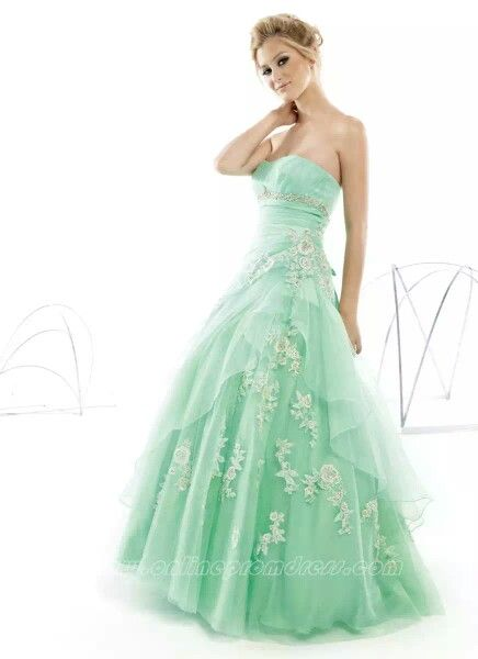 Mint green strapless with white floral design | Prom | Pinterest ...
