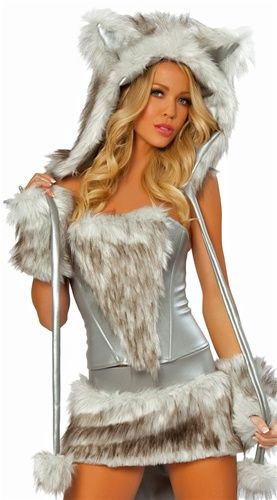 86bba93dacd6 Big Bad Wolf Fur Corset and Skirt 80062 by J. Valentine, Faux Fur Women's  Costumes