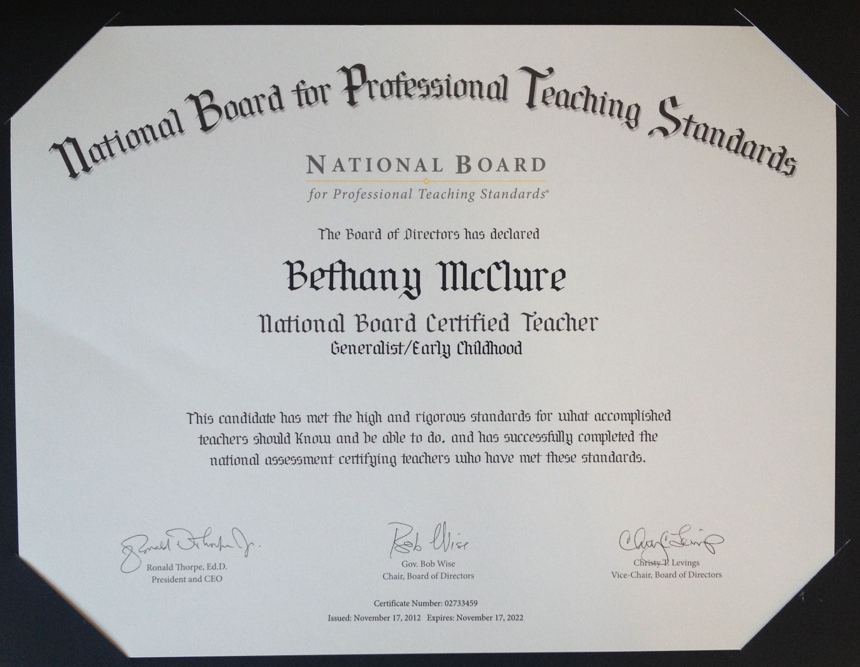 National Board Certification Early Childhood Generalist Ecgen
