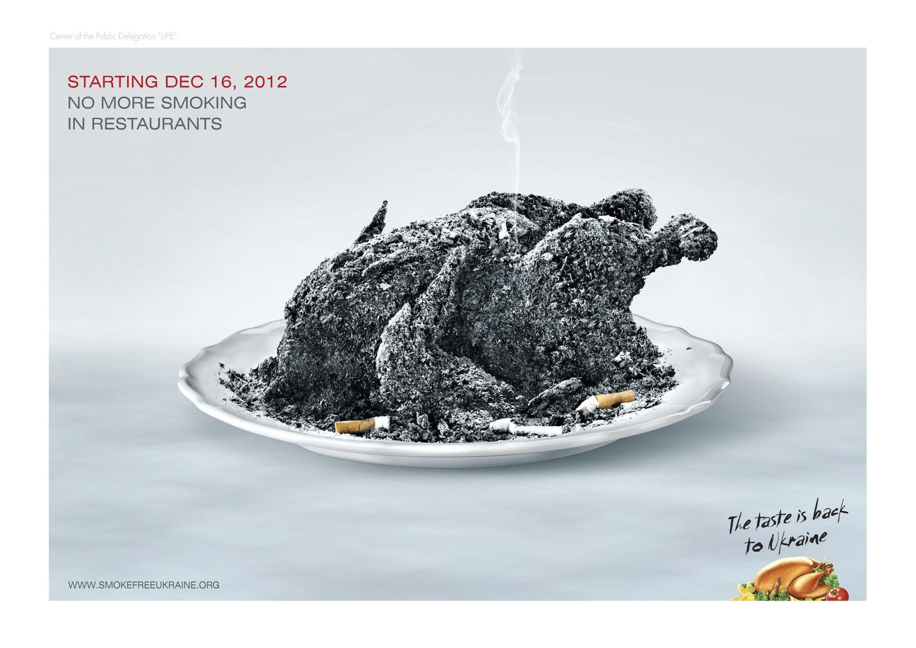 """""""No más cigarros en los restaurantes. El sabor está de regreso a Ucrania"""", campaña realizada por la agencia Tabasco,"""