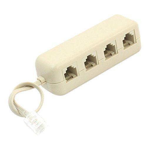 IMC Calda RJ11 6P4C per 6P4C 4 Vie Linea Telefonica Modulare Splitter Adapter Bianco