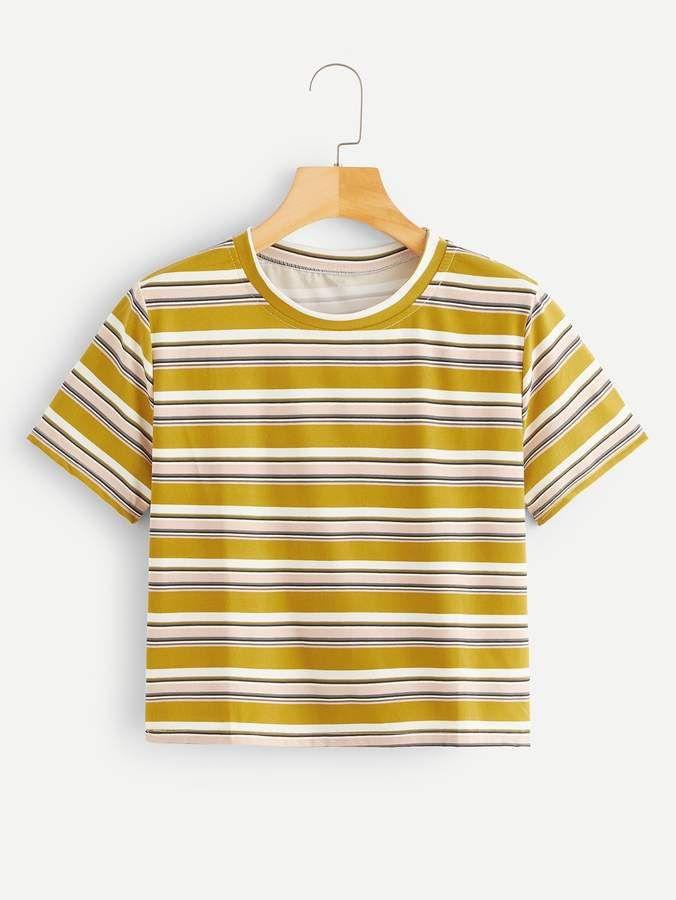 Shein Short Sleeve Striped Tee   Striped tee, Tees, Sleeves