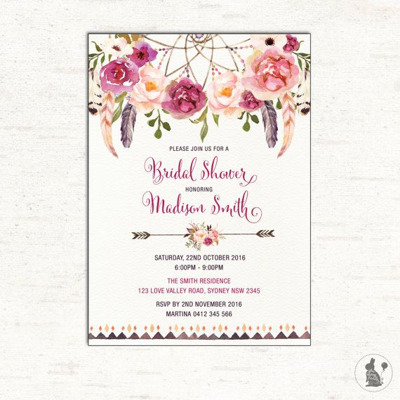 Bohemian Bridal Shower Invitation Boho Baby Shower Invite