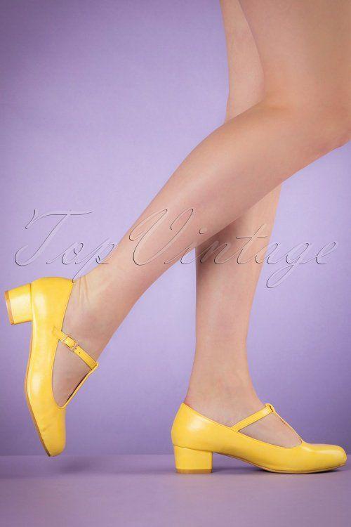 88ab75b73bd Lulu Hun Yellow Chrissie Block Heel Shoes 401 80 20868 03222017 002W