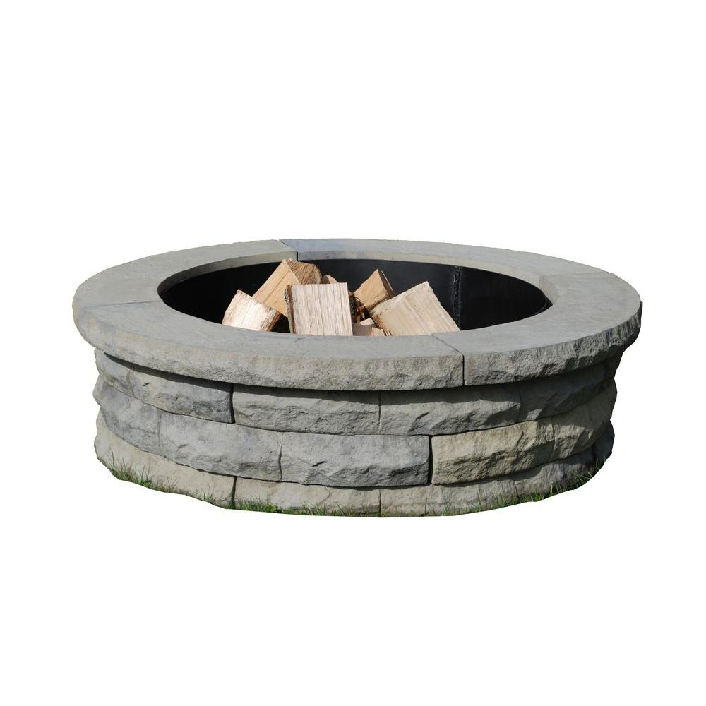 Nantucket Pavers Ledgestone 47 In Concrete Fire Pit Ring Kit Gray
