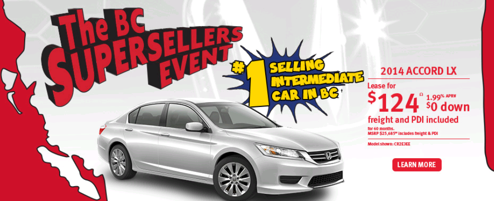 2014 Honda Accord LX wins top spots in BC.  Thank you.  Come by and test drive one today on the Fraser Highway, east of 152 St.   www.surreyhonda.com or call us at 604-583-7421 to speak to someone right now.  Open 7 days a week.