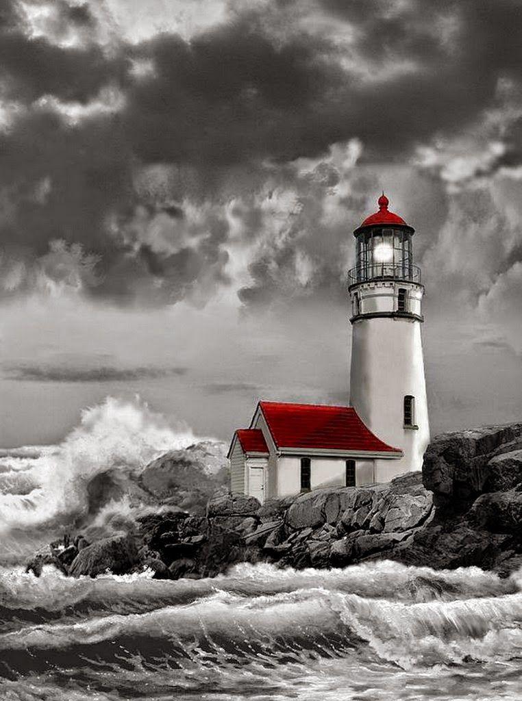 paisajes-marinos-con-faros-en-la-playa   Láminas   Pinterest   En la ...