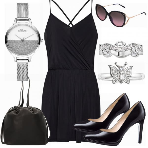 Schwarzes Kleid Outfit Outfit - Party Outfits bei ...