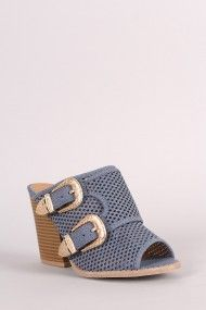 Free SH & Easy Returns! Shop  Denim Print Buckled Chunky Mule Heel. This…