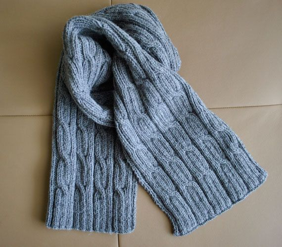Cable Knit Scarf Pattern : mens cabled scarf pattern on Etsy. Knit one Purl one Pinterest Cab...