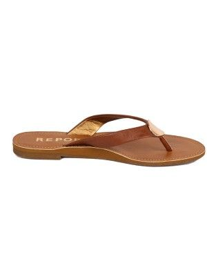 Report: Sammy- Tan-Faux leather flip-flop with solid gold concave hardware