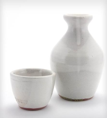 White Glazed Stoneware Sake Set
