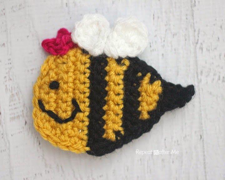Q is for Queen Bee: Crochet Queen Bee Applique   tigla el işleri ...