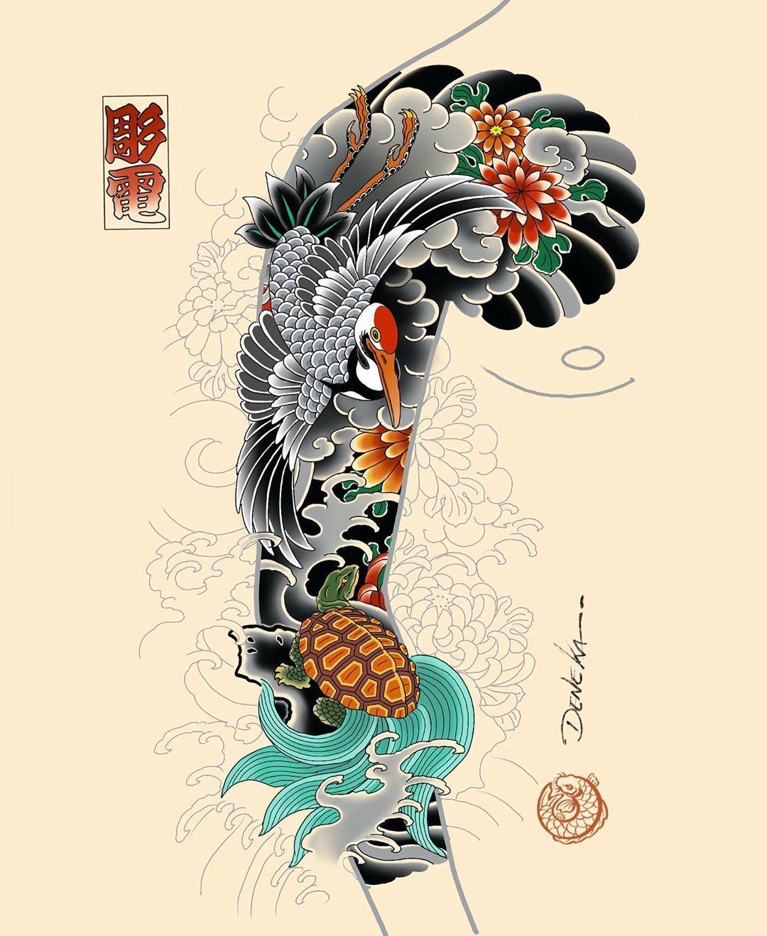 Turtle And Crane Sleeve Idea Available For Bookings Denekahoriden Gmail Com Crane Tsu Koi Tattoo Sleeve Japan Tattoo Design Tattoo Japanese Style