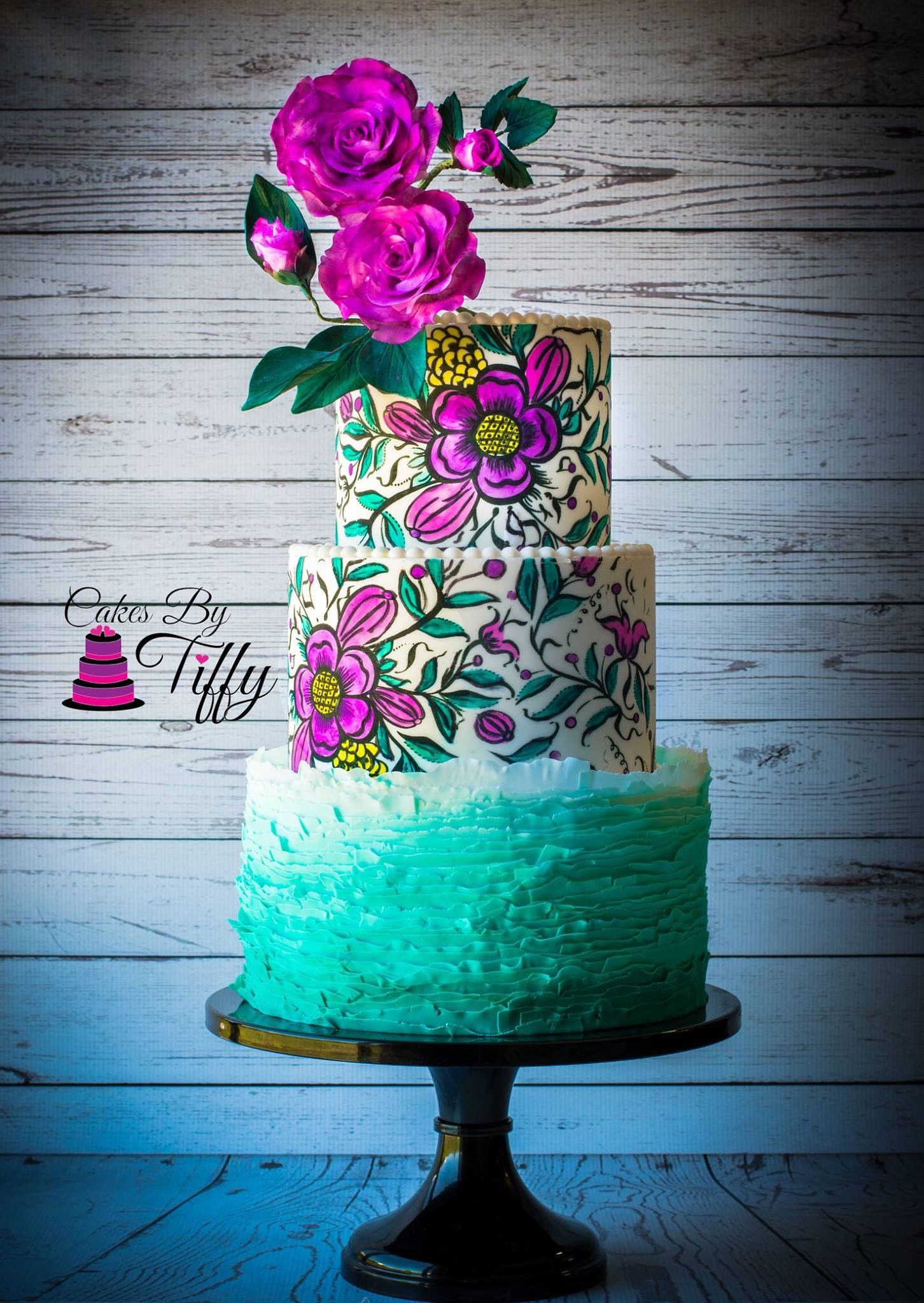 Teal ombre ruffles with handpainted flower design and gumpaste roses ...