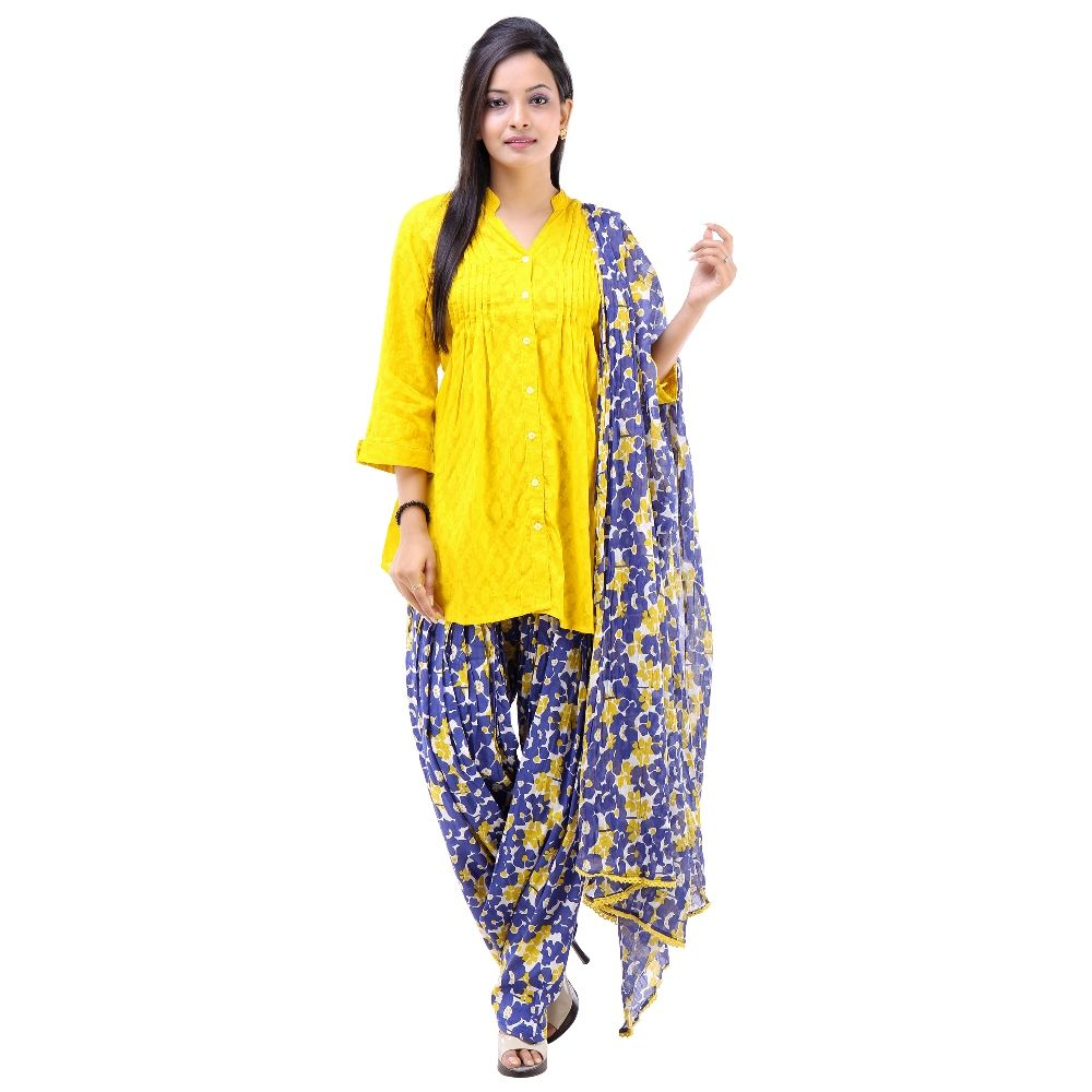 373e577077 Yellow Cotton Kurti with printed Patiala Salwar and Dupatta Set ...