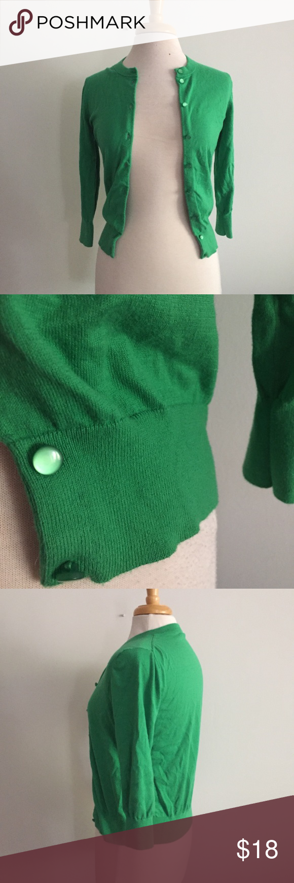 18e05fe104 J Crew Kelly Green Cardigan Sweater Size Small This is a gorgeous kelly  green sweater from J Crew. It has long sleeves with ribbing on the ends of  sleeves ...