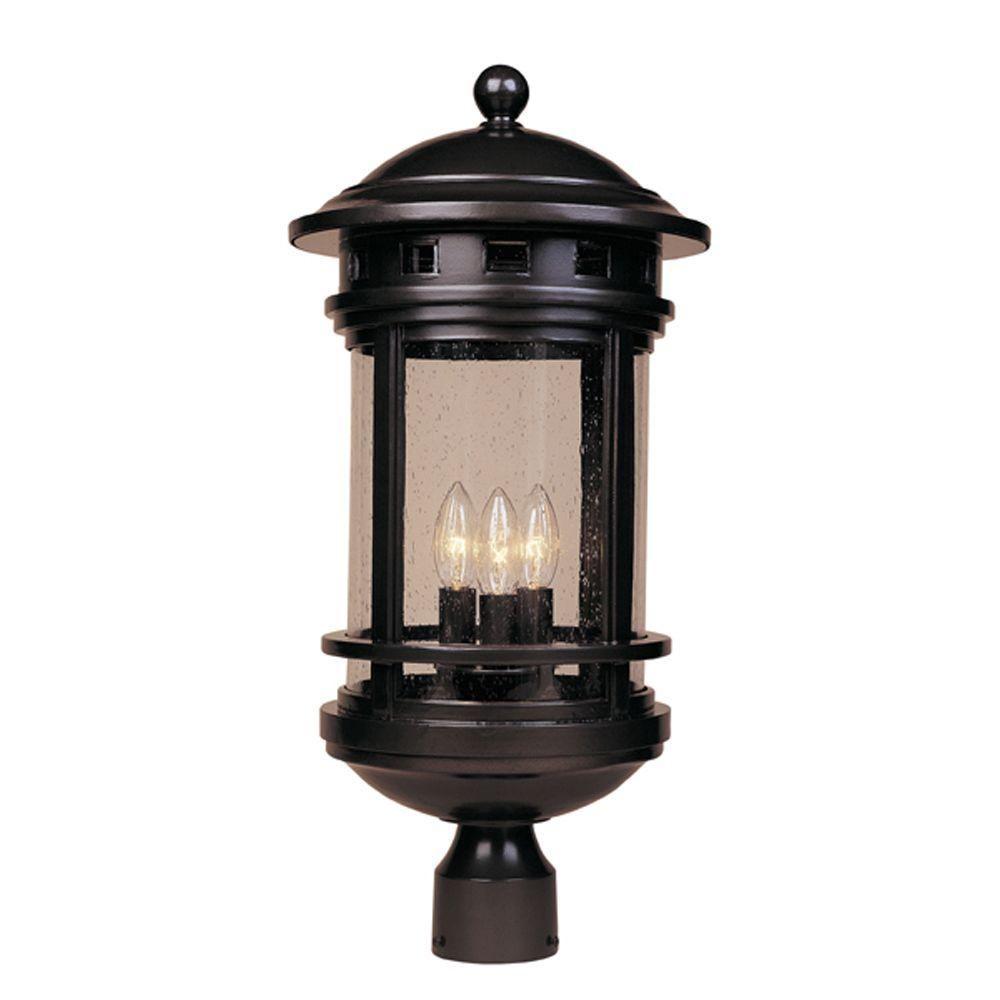 Designers Fountain Sedona 3 Light Oil Rubbed Bronze Outdoor Post Lantern 2396 Orb Designers Fountain Outdoor Post Lights Traditional Post Lights