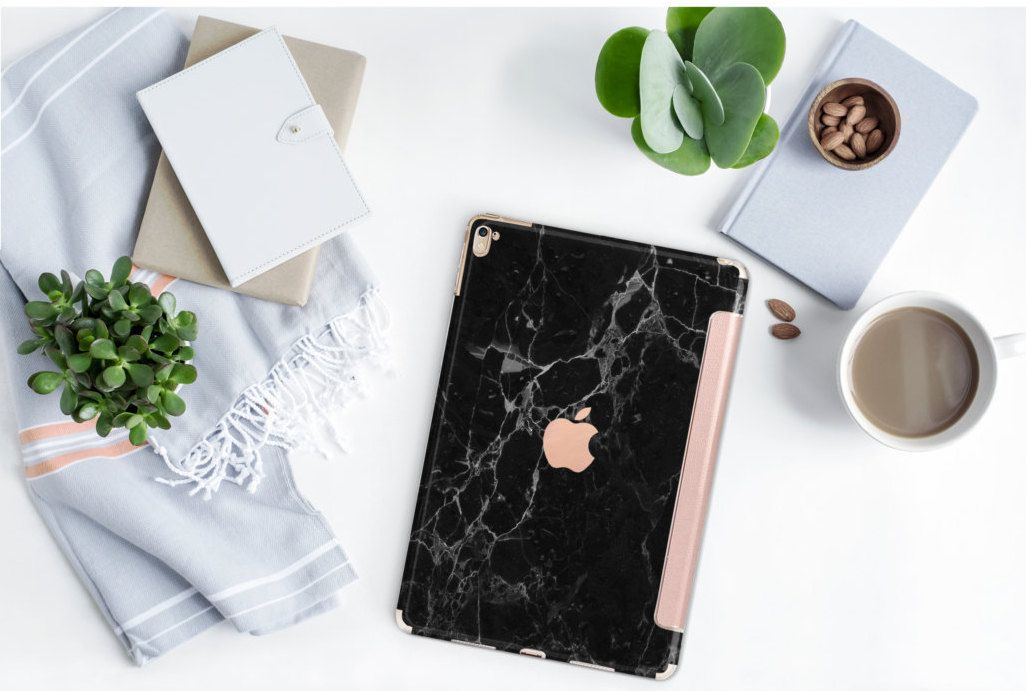 Black Marble And Rose Gold Smart Cover Hard Case For Ipad Etsy Rose Gold Ipad Black Marble Ipad