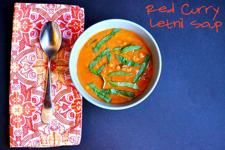 Lentil Red Curry & Coconut Milk Soup [Vegan/Gluten Free] Recipe Soups with onions, garlic, red curry paste, ground ginger, red pepper flakes, coconut milk, diced tomatoes, vegetable broth, lentils, spinach