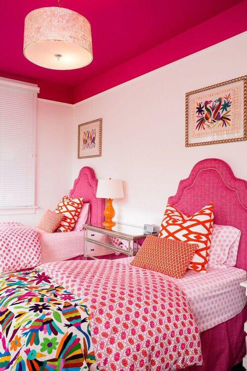 Love The Colors Together Girl Room Bedroom Design Pink Headboard