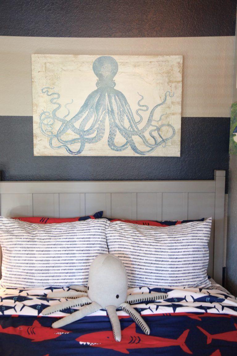 Shark Themed Boy S Room Project Nursery Shark Boys Room Shark Themed Bedroom Ocean Themed Bedroom