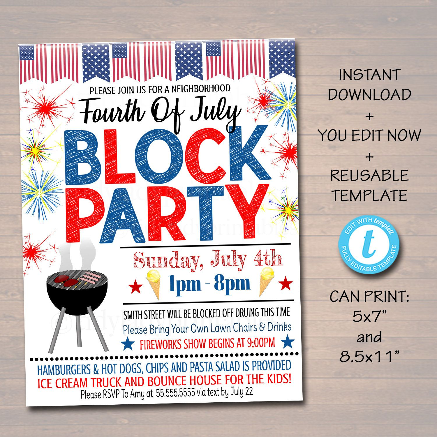 Editable Patriotic Neighborhood Block Party Invite Printable Etsy Block Party Invitations Neighborhood Block Party Block Party