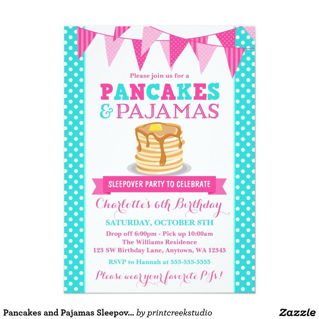 Pancakes and Pajamas Sleepover Pink Teal Birthday Card | Sleepover ...