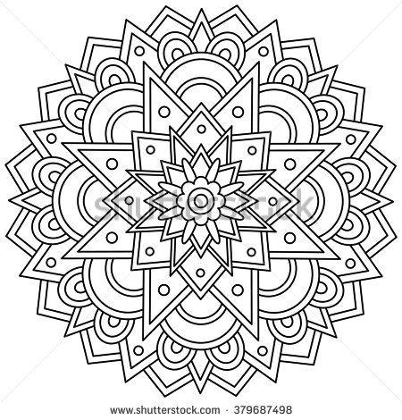 Mandala Black And White Round Ornament Vector Illustration Geometric Coloring Pages Mandala Coloring Pages Mandala Coloring