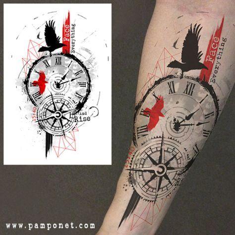 trash polka compass tatto pinterest tattoo uhr. Black Bedroom Furniture Sets. Home Design Ideas