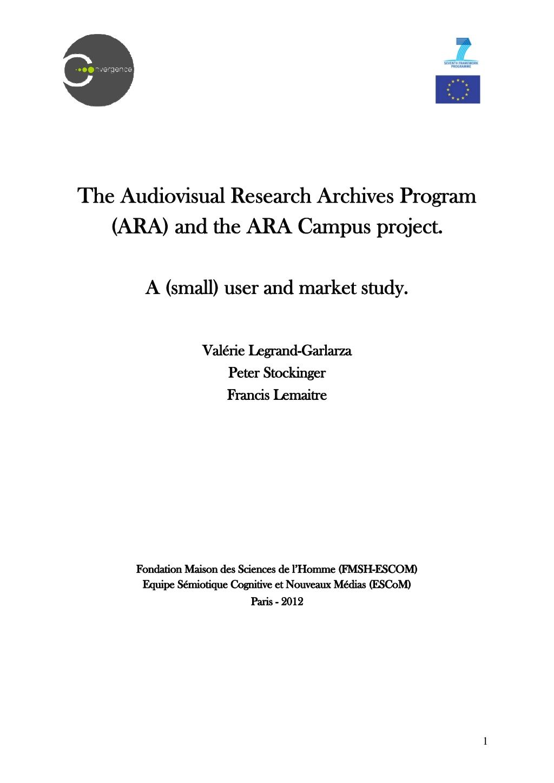 A-small-user-market-study-ara-campus-project by Archives Audiovisuelles de la Recherche via Slideshare