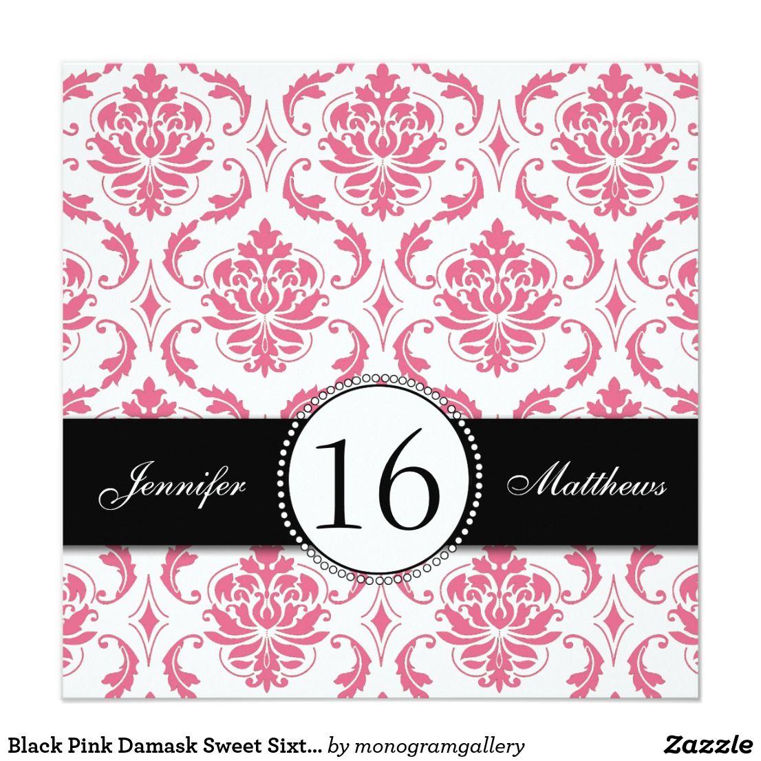 Black Pink Damask Sweet Sixteen Invitations | Sixteenth birthday ...