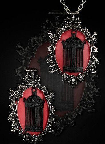 Vogelkäfig Rot Gothic Halskette BROSCHE Birdcage Anhänger red Cameo Necklace