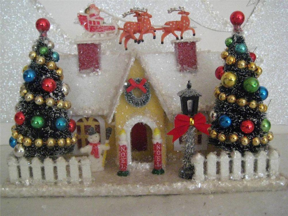 Vintage Putz style YELLOW House-Santa  Sleigh-2 Bottle Brush TREES