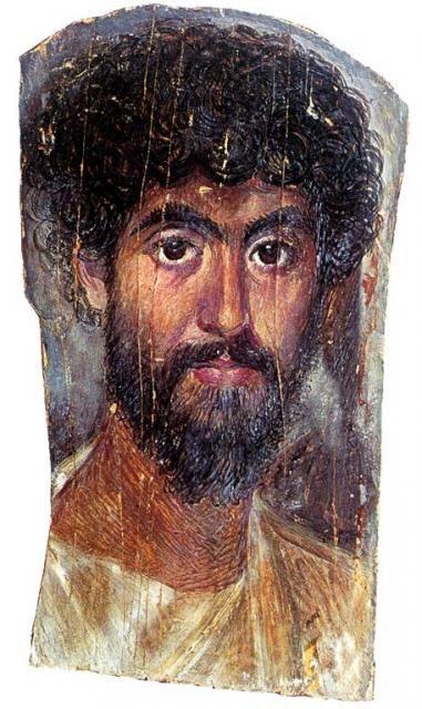 Roman funerary portrait of man from Fayyum, Egypt (encaustic on wood). AD 160 - 170