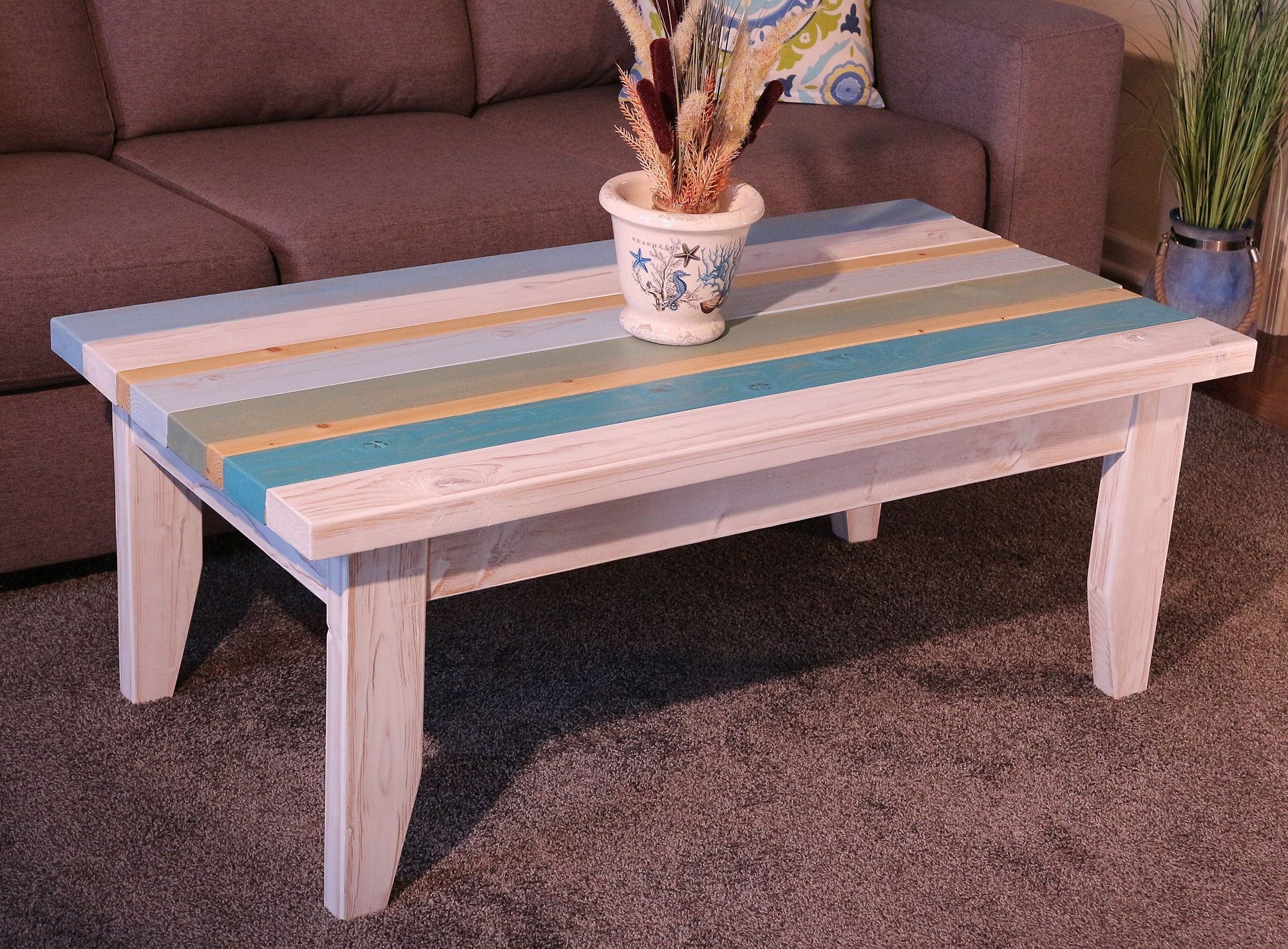 Beach Coastal Style Multicolored Coffee Table With White Trim